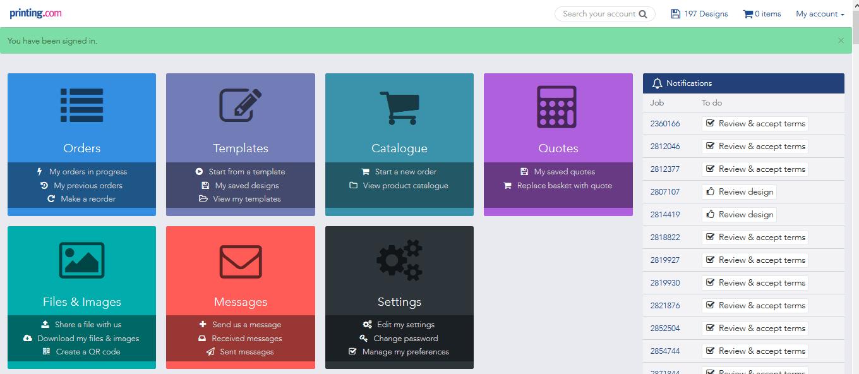 printing.com ordering dashboard