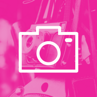 Photograph Icon imposed on pink photograph