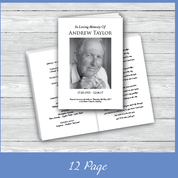 12 Page Funeral Order of Service Booklet