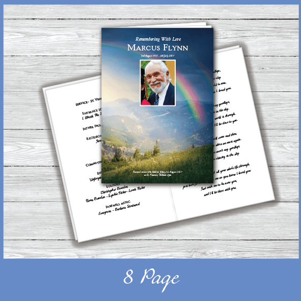 8 Page Funeral Order of Service Brochure