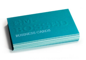 Embossed business card end result
