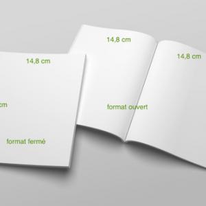 2 volets 14,8 x 21 cm (A5) fermé - 4 pages