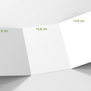 3 volets 14,8 x 21 cm (A5) fermé - 6 pages