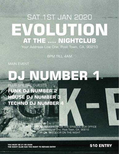 "Nightclub 8.5"" x 11"" Flyers by Peter Stewart"