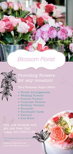 "Florist 4"" x 9"" Rack Card by TemplateCloud.com"