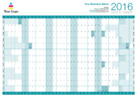 Wallplanner Teal 2016 by Templatecloud