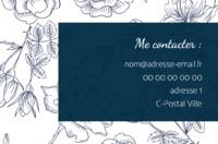 Carte De Visite Fleurs Bleu