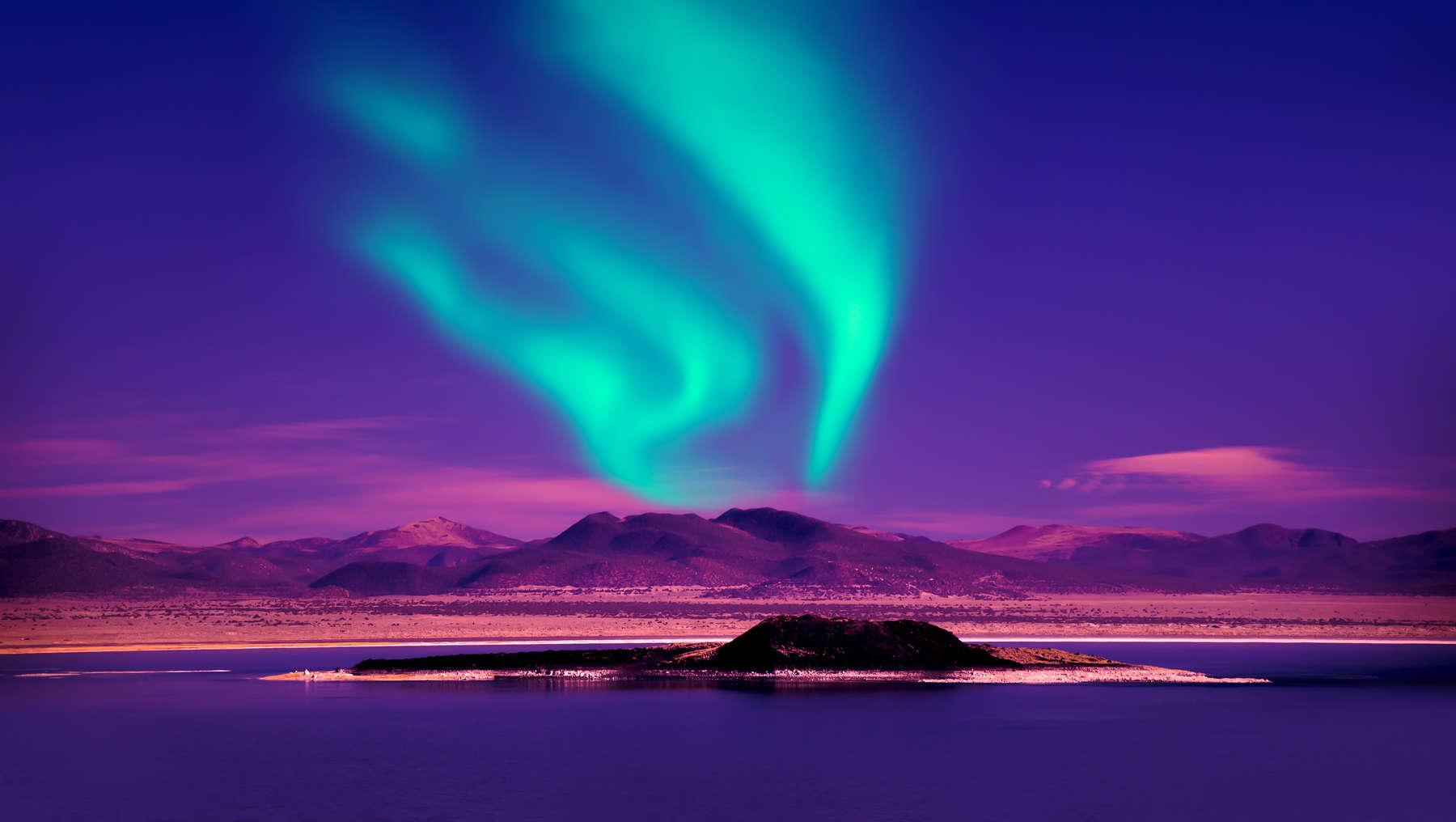Northern lights over lake